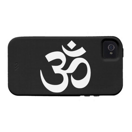 Black and White Om Symbol iPhone 4 Cases