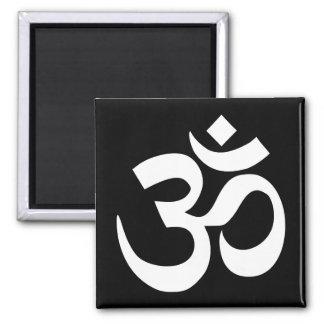 Black and White Om Symbol 2 Inch Square Magnet