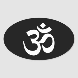Black and White Om Symbol Sticker