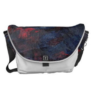 Black and White on Blue and Red Background Messenger Bag
