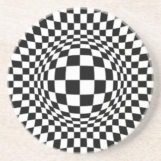 Black and White Op Art Sandstone Coaster