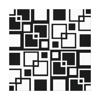 Black and White Op-art Squares Canvas Print