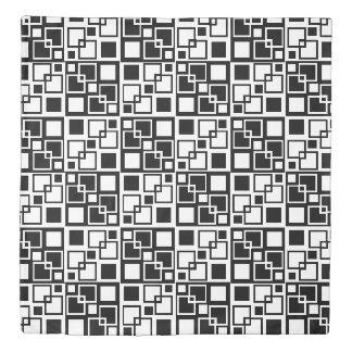 Black and White Op-art Squares Duvet Cover