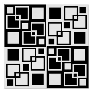 Black and White Op-art Squares Poster