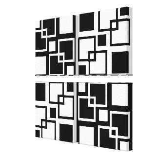 Black and White Op-art Squares Quad Canvas