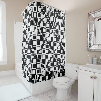 Black and White Op-art Squares Shower Curtain