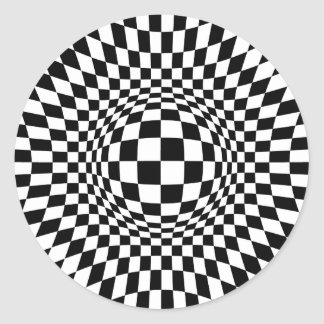 Black and White Op Art Classic Round Sticker