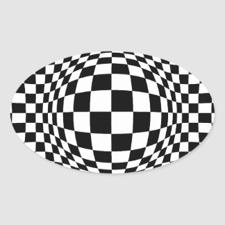 Black and White Op Art Oval Sticker