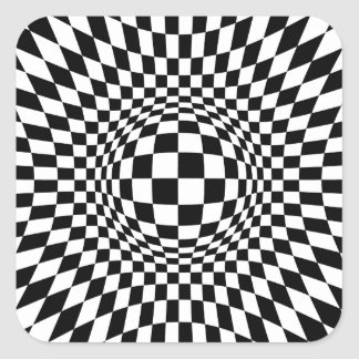 Black and White Op Art Square Sticker