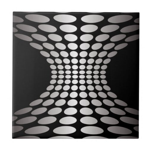 Black and White Optical Illusion Ceramic Tile