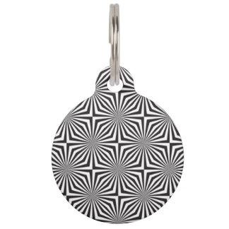 Black and white optical illusion pet tag