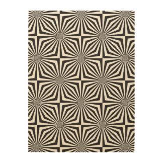 Black and white optical illusion wood print