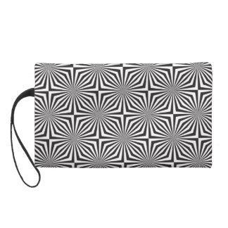 Black and white optical illusion wristlet purse