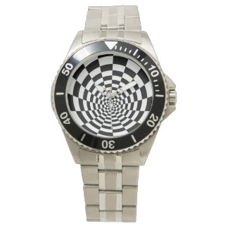 Black And White Optical Pattern Wristwatch