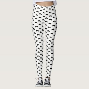 Beach Themed Black and White Orca Patterned Leggings