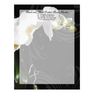Black and White Orchid Swirl Letterhead
