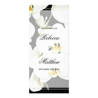 Black and White Orchid Wedding Program