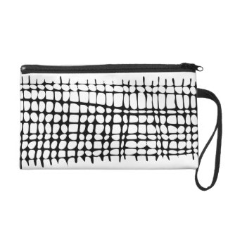 Black and White Organic Grid Wristlet