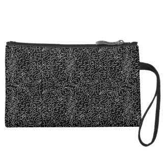Black and white organic Pattern Suede Wristlet Wallet