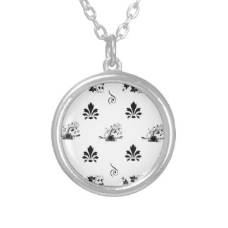 Black and white oriental round pendant necklace