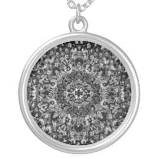 Black and White Oriental Rug Silver Plated Necklace