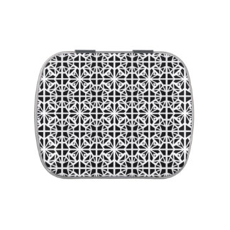 Black and white ornamental pattern candy tin