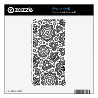 Black And White Ornate Circles And Stars Design Skins For The iPhone 4