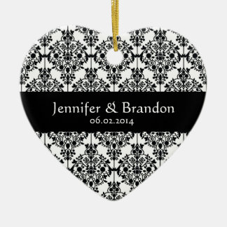 Black and White Ornate Damask Wedding Thank You Ceramic Ornament