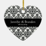 Black and White Ornate Damask Wedding Thank You Double-Sided Heart Ceramic Christmas Ornament