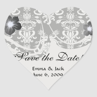 black and white ornate funky damask heart sticker