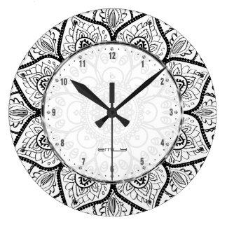 Black And White Ornate Mandala Lace Design Large Clock