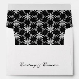 Black and White Ornate Stars Pattern V17 Envelope
