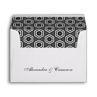 Black and White Ornate Stars Pattern V22 Envelope