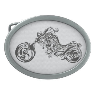 Black And White Ornate Tattoo Style Motorcycle Belt Buckles