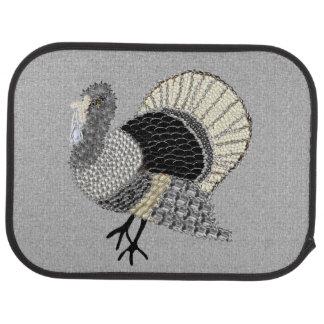 Black and White Ornate Thanksgiving Turkey Car Mat