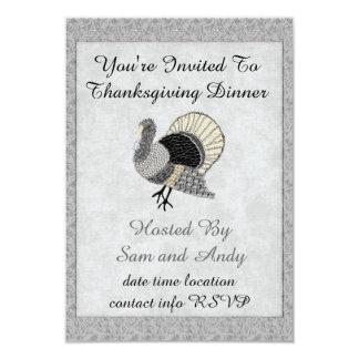 Black and White Ornate Thanksgiving Turkey 3.5x5 Paper Invitation Card