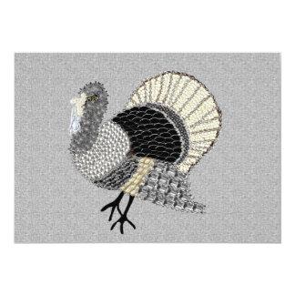 Black and White Ornate Thanksgiving Turkey 5x7 Paper Invitation Card