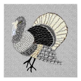 Black and White Ornate Thanksgiving Turkey 5.25x5.25 Square Paper Invitation Card