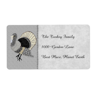 Black and White Ornate Thanksgiving Turkey Shipping Label