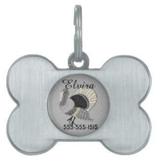 Black and White Ornate Thanksgiving Turkey Pet Name Tags