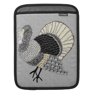 Black and White Ornate Thanksgiving Turkey Sleeve For iPads