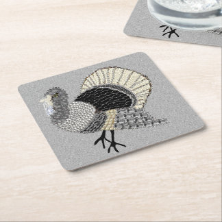 Black and White Ornate Thanksgiving Turkey Square Paper Coaster