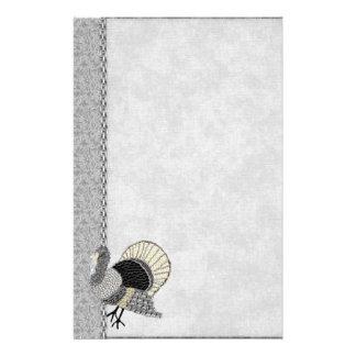 Black and White Ornate Thanksgiving Turkey Customized Stationery