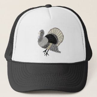 Black and White Ornate Thanksgiving Turkey Trucker Hat