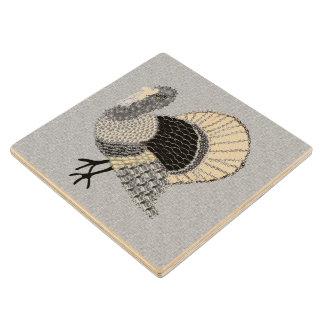 Black and White Ornate Thanksgiving Turkey Wood Coaster