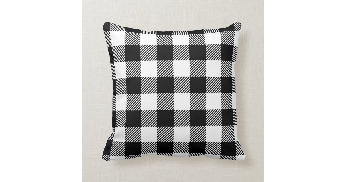 Black And White Outdoor Gingham Buffalo Check Patt Throw