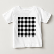 Black and White Outdoor Gingham Pattern Art Design Baby T-Shirt