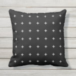 "Black and White Outdoor Pillows - Cross Pattern<br><div class=""desc"">Black and White outdoor pillow with a modern crosses pattern. Made in the USA. Vivid, colorful high quality printing. UV and mildew resistant garden or patio pillows with geometric patterns in bright summer colors. Available in 16 or 20 inch square and 13 by 21 rectangular sizes. Insert included. (Also available...</div>"