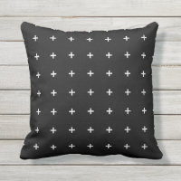 Black and White Outdoor Pillows - Cross Pattern