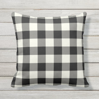 Black And White Outdoor Pillows - Gingham Pattern at Zazzle